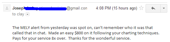 The MELY alert from yesterday was spot on, can't remember who it was that called that in chat. Made an easy $800 on it following your charting techniques. Pays for your service 8x over. Thanks for the wonderful service.