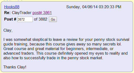 I was somewhat skeptical to leave a review for your penny stock survival guide training, because this course gives away so many secrets lol. Great course and great material for beginners, intermediate, or advanced traders. This course definitely opened my eyes to reality and also how to successfully trade in the penny stock market.