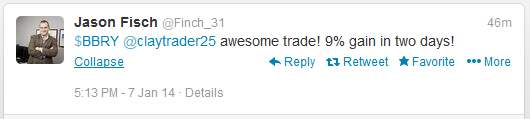 $BBRY @ClayTrader25 awesome trade! 9% gain in two days!