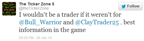 I wouldn't be a trader if it weren't for @Bull_Warrior and @ClayTrader25. best information in the game.