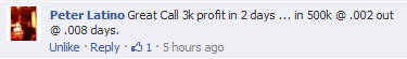 Great Call 3k profit in 2 days... in 500k @ .002 out @ .008 days.