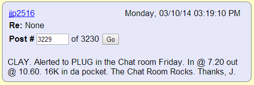 CLAY. Alerted to PLUG in the Chat room Friday. In @ 7.20 out @ 10.60. 16K in da pocket. The Chat Room Rocks. Thanks, J.