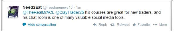 ClayTrader's courses are great for new traders, and his chat room is one of many valuable social media tools.