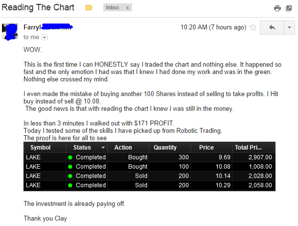 This is the first time I can HONESTLY say I traded the chart and nothing else. It happened so fast and the only emotion I had was that I knew I had done my work and was in the green. Nothing else crossed my mind. I even made the mistake of buying another 100 Shares instead of selling to take profits. I Hit buy instead of sell @ 10.08. The good news is that with reading the chart I knew I was still in the money.
