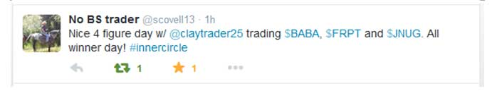 Nice 4 figure day w/ @claytrader25 trading $BABA, $FRPT, and $JNUG. All winner day! #innercircle