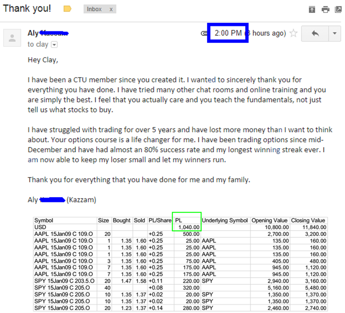 I have been a CTU member since you created it. I wanted to sincerely thank you for everything you have done. I have tried many other chat rooms and online training and you are simply the best. I feel that you actually care and you teach the fundamentals, not just tell us what stocks to buy. I have struggled with trading for over 5 years and have lost more money than I want to think about. Your options course is a life changer for me. I have been trading options since mid-December and have had almost an 80% success rate and my longest winning streak ever. I am now able to keep my loser small and let my winners run. Thank you for everything that you have done for me and my family.