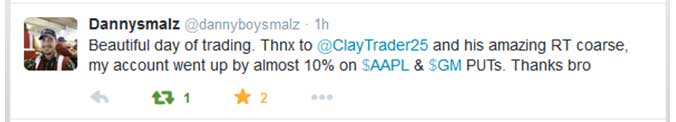Beautiful day of trading. Thanks to ClayTrader and his amazing RT course, my account went up by almost 10% on $AAPL and $GM PUTs. Thanks bro.