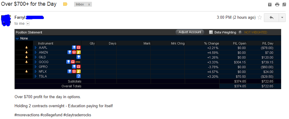 Over $700 profit for the day in options. Holding 2 contracts overnight - Education paying for itself