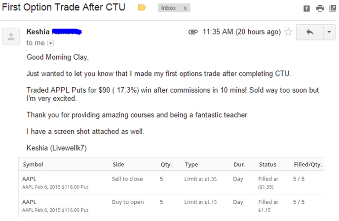 Good Morning Clay. Just wanted to let you know that I made my first options trade after completing CTU. Traded APPL Puts for $90 ( 17.3%) win after commissions in 10 mins! Sold way too soon but am very excited. Thank you for providing amazing courses and being a fantastic teacher.