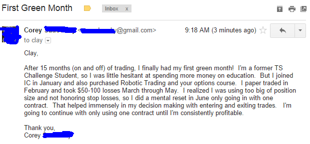 After 15 months (on and off) of trading, I finally had my first green month! I'm a former TS Challenge Student, so I was little hesitant at spending more money on education. But I joined IC in January and also purchased Robotic Trading and your options course. I paper traded in February and took $50-100 losses March through May. I realized I was using too big of position size and not honoring stop losses, so I did a mental reset in June only going in with one contract. That helped immensely in my decision making with entering and exiting trades. going to continue with only using one contract until I'm consistently profitable.