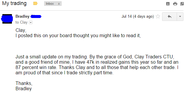 Just a small update on my trading. By the grace of God, ClayTrader's CTU, and a good friend of mine, I have 47k in realized gains this year so far and an 87 percent win rate. Thanks Clay and to all those that help each other trade. I am proud of that since I trade strictly part time.