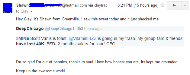 Hey Clay, Its Shawn from Greenville. I saw this tweet today and it just shocked me. I'm so glad I'm out of pennies, thanks to you! I love how honest you are, its kept me grounded. Keep up the awesome work!