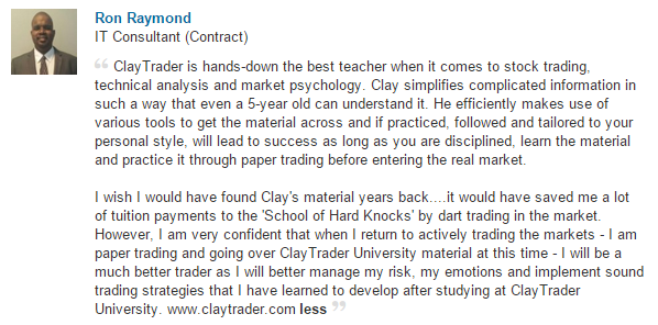 I wish I would have found Clay's material years back....it would have saved me a lot of tuition payments to the 'School of Hard Knocks' by dart trading in the market.