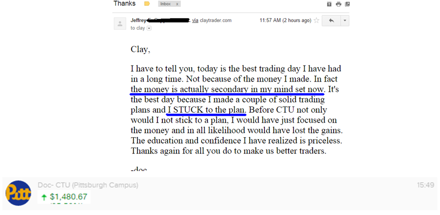 I have to tell you, today is the best trading day I have had in a long time. Not because of the money I made. In fact the money is actually secondary in my mind set now. It's the best day because I made a couple of solid trading plans and I STUCK to the plan. Before CTU not only would I not stick to a plan, I would have just focused on the money and in all likelihood would have lost the gains. The education and confidence I have realized is priceless. Thanks again for all you do to make us better traders.