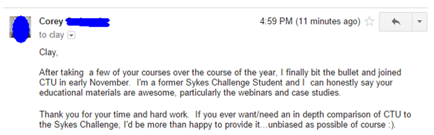 I'm a former Sykes Challenge Student and I can honestly say your educational materials are awesome, particular the webinars and case studies.
