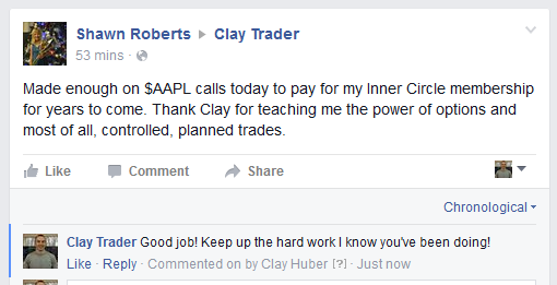 Made enough on $AAPL calls today to pay for my Inner Circle membership for year to come. Thanks Clay for teaching me the power of options and most of all, controlled, planned trades.