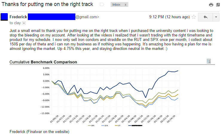 Just a small email to thank you for putting me on the right track when i purchased the university content i was looking to stop the bleeding on my account. After looking at the videos i realized that i wasn't trading with the right timeframe and product for my schedule. I now only sell iron condors and straddle on the RUT and SPX once per month, i collect about 150$ per day of theta and i can run my business as if nothing was happening. It's amazing how having a plan for me is almost ignoring the market. Up 4.75% this year, and staying direction neutral in the market