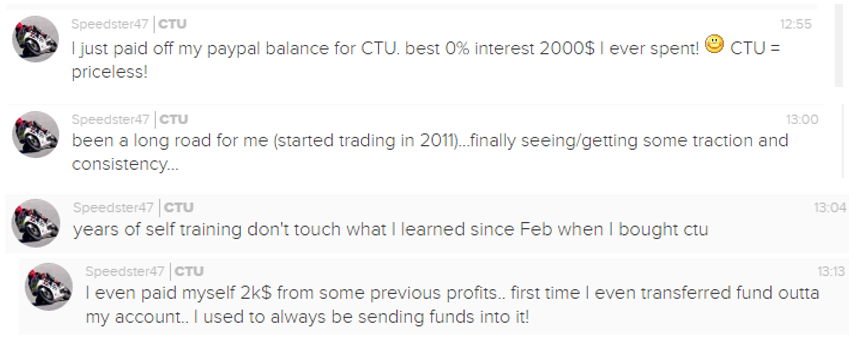 Years of self training don't touch what I learned since Feb when I bought CTU.