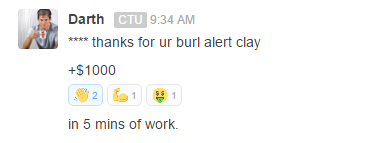 Thanks for the BURL alert clay +$1000
