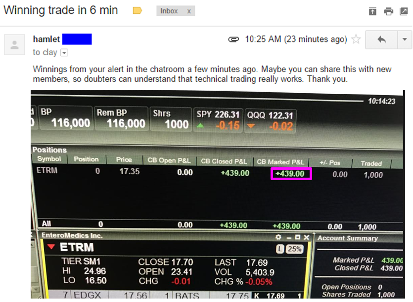 Winnings from your alert in the chatroom a few minutes ago. Maybe you can share this with new members, so doubters can understand that technical trading really works. Thank you.